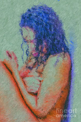 Woman In Shower Painting - Falling Apart  by Edwin Davis