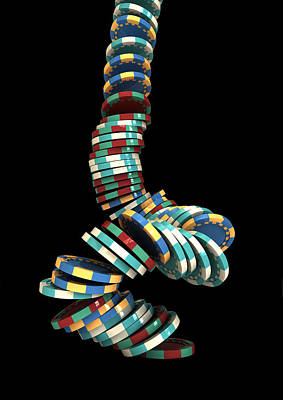 Poker Digital Art - Falling Casino by Allan Swart