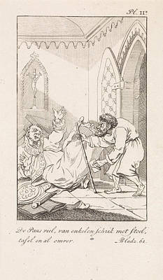 Caricature Drawing - Falling Cleric And A Man With A Letter, Danil Veelwaard by Dani?l Veelwaard (i) And Jacob Smies And Fran?ois Bohn