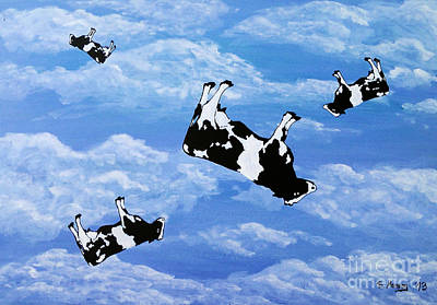 Dadaism Painting - Falling Cows by Bela Manson