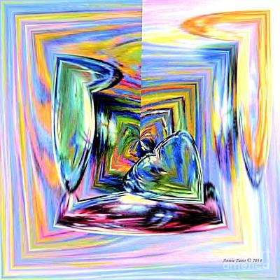 Digital Art - Hearts Falling In Love  by Annie Zeno