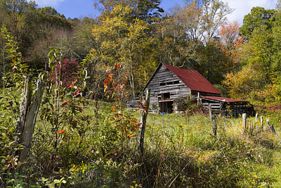 Barn In The Woods Photograph - Falling Into Autumn by Debra and Dave Vanderlaan