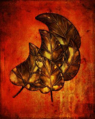 Brass Leafs Digital Art - Falling Leaves 1 by Terry Fleckney