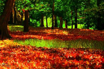 Painting - Falling Leaves In The Park by Bruce Nutting