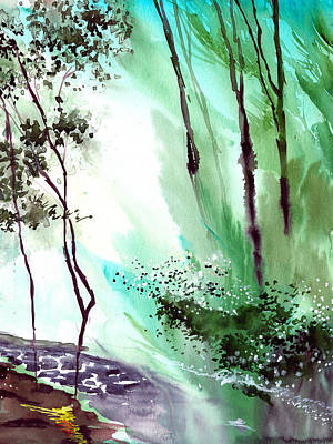 Autumn Landscape Drawing - Falling Light by Anil Nene