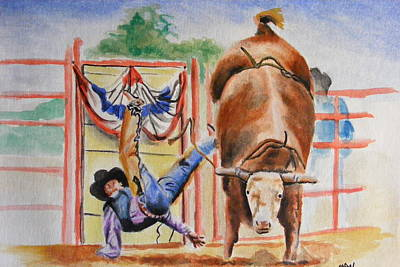 Rodeo Clown Painting - Falling by Maria Luna