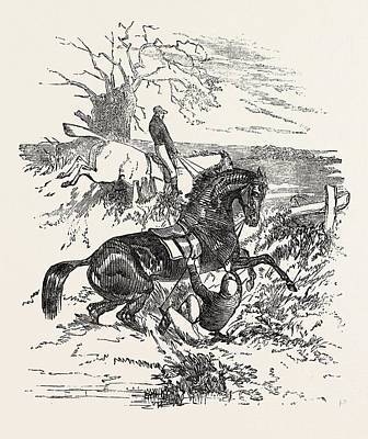 Racetrack Drawing - Falling Off A Horse During A Steeple Chase, Horse, Sport by English School
