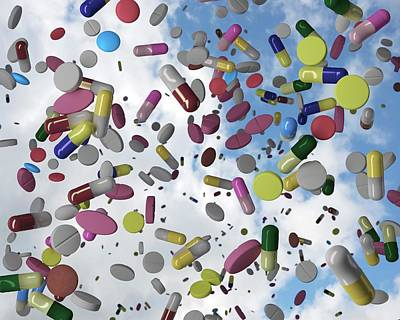 Pill Photograph - Falling Pills by Robert Brook