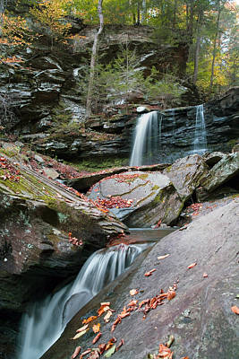Photograph - Falling Water Meets Fallen Leaves by Gene Walls