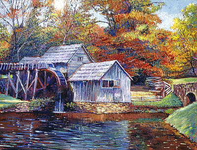 Split Rail Fence Painting - Falling Water Mill House by David Lloyd Glover