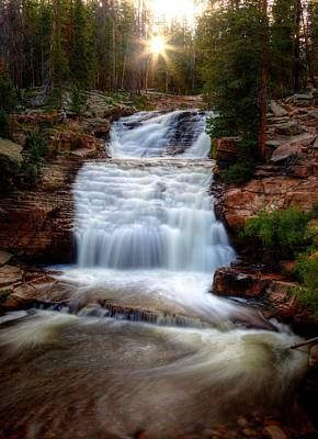 Photograph - Falling Water Setting Sun by David Andersen