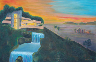Frank Lloyd Wright Painting - Falling Water West by Nicolas Nomicos