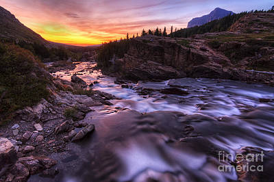 Falls At First Light Art Print by Mark Kiver