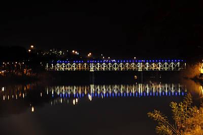 Falls Bridge At Night Art Print by Bill Cannon