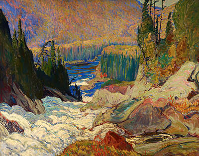 Mountain Valley Painting - Falls - Montreal River by Mountain Dreams