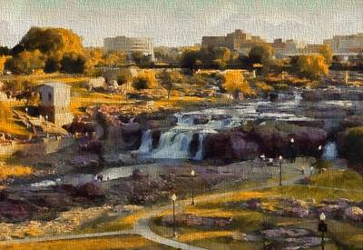 Pole Mixed Media - Falls Park In Autumn Sioux Falls South Dakota by Dan Sproul