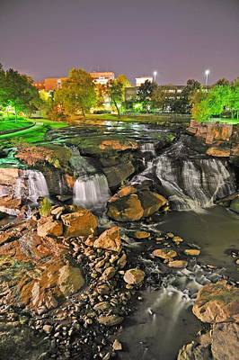 Falls Park Waterfall At Night In Downtown Greenville Sc Art Print