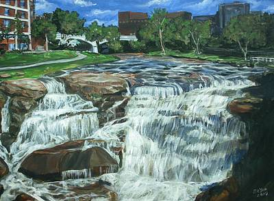 Art Print featuring the painting Falls River Park by Bryan Bustard