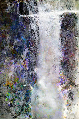 Photograph - Falls With Rainbow Abstract by John Fish