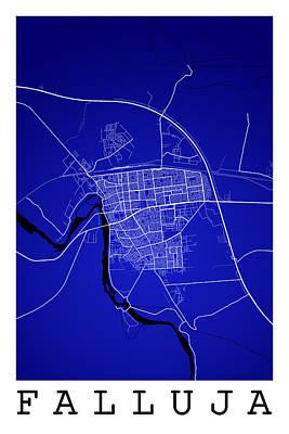 Iraq Digital Art - Falluja Street Map - Falluja Iraq Road Map Art On Color by Jurq Studio