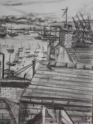 Drawing - Falmoth Docks 1 by Matt Swann