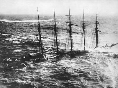 Historic Schooner Photograph - Falmouth England Shipwreck by Underwood Archives