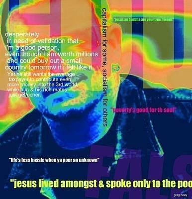 Bono Digital Art - False Bono by Greg Hoey