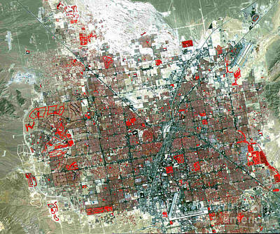Satellite Photograph - False-color Infra Red Satellite Image Of Las Vegas by Celestial Images