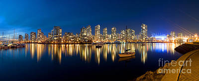 Vancouver At Night Photograph - False Creek At Dusk II by Terry Elniski