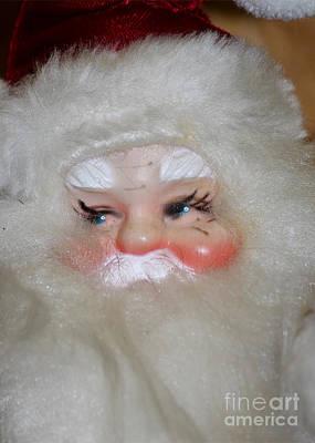 False Eyelashes Santa Art Print