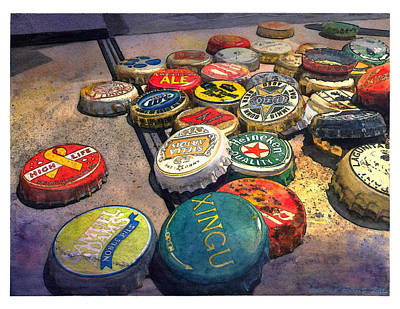 Bottle Cap Painting - Falstaff by George Evans