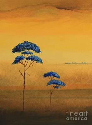 Puerto Rico Painting - Famboyanes Azules by Alicia Maury
