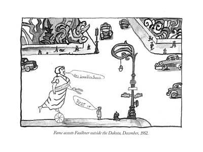 Fame Accosts Faulkner Outside The Dakota Art Print by Saul Steinberg