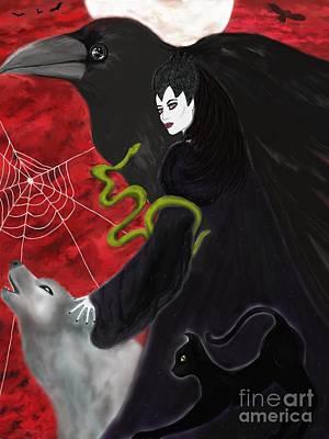 Samhain Painting - Familiar Spirits by Roxy Riou
