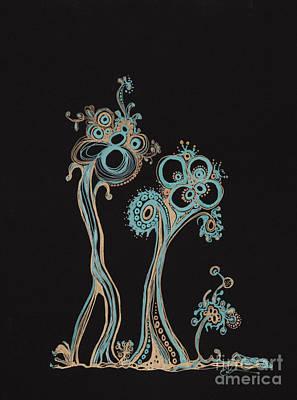 Abstract Gel Pen Drawing Drawing - Families 12 by Christina Naman