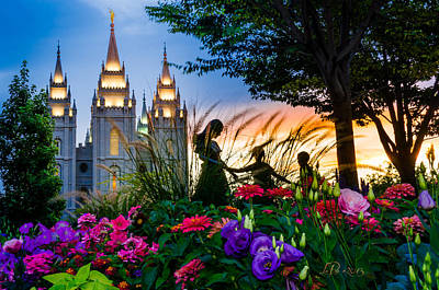 Utah Temple Photograph - Families Are Forever by La Rae  Roberts