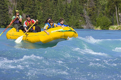Inflatable Photograph - Family & Guide In River Raft In White by Michael DeYoung