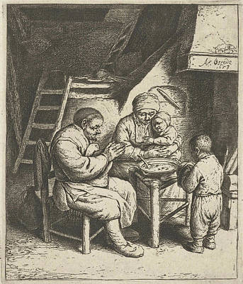 Children Sitting Drawing - Family At The Table For The Meal, Adriaen Van Ostade by Adriaen Van Ostade