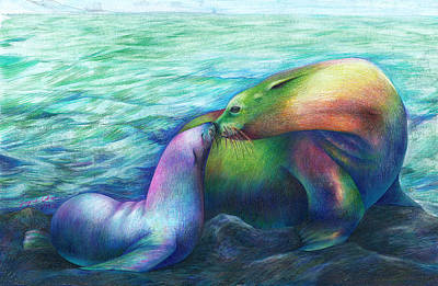 Sea Lion Drawing - Family By Joyce Chen by California Coastal Commission