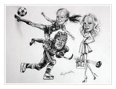 Soccer Drawing - Family Caricature by Hanne Lore Koehler