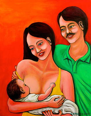 Filipino Artist Painting - Family by Cyril Maza