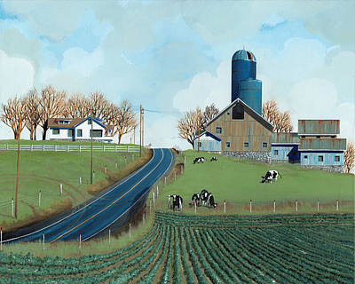 Silos Painting - Family Dairy by John Wyckoff