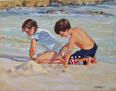 Children Playing On Beach Painting - Family Day by Laura Lee Zanghetti