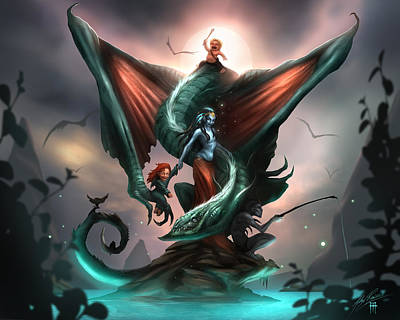Dragon Digital Art - Family Dragon by Alex Ruiz