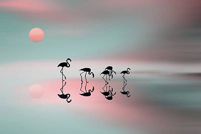 Family Flamingos Print by Natalia Baras