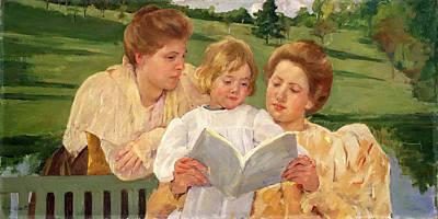 Mary Stevenson Cassatt Painting - Family Group Reading by Mary Stevenson Cassatt