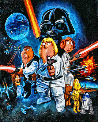 Painting - Family Guy Star Wars by Joe Misrasi
