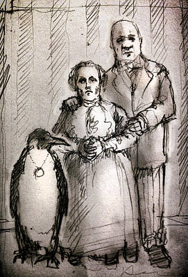 Penguin Drawing - Family by H James Hoff