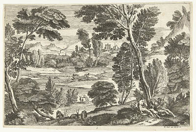 Children Sitting Drawing - Family In Landscape, Print Maker Nicolas Gurard by Nicolas Gu?rard And Adriaen Van Der Kabel And N. Robert