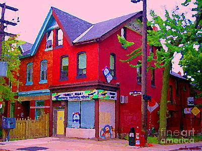 Painting - Family Mart Corner Variety Store Wellesley  Cabbage Town Toronto Street Scene Paintings C Spandau by Carole Spandau